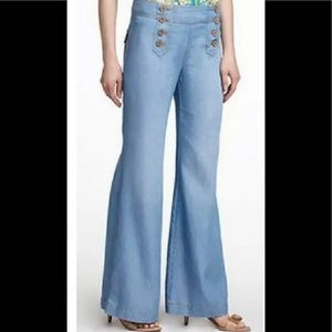Elevenses Shipmate Pants Wide Leg Size 4 Blue